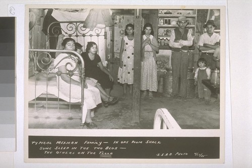 Typical Mexican family - in one room shack. Some sleep in the two beds - the others sleep on the floor. S.E.R.A. Photo, 4/17/35