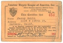 Percy Smith Amateur Bicycle League of America registration card