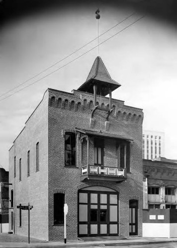 Exterior shot of the Firehouse on the corner of Los Angeles Street and Calle de la Plaza