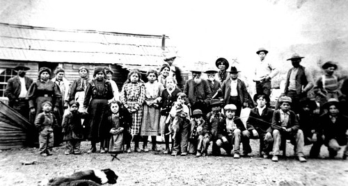 Large group portrait of Indian people at Paskenta Indian Reservation