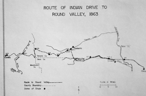 Map of Route of Indian Drive to Round Valley, 1863