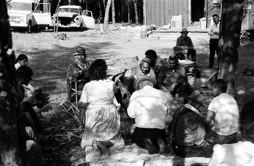 Playing grass games at the Greenville Bear Dance--1970