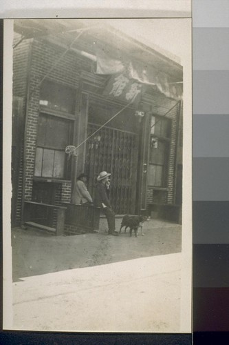 [Same?] China alley. Fresno, Cal. 1910. [People in front of building in Chinese commercial district.]