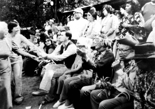 Governor Jerry Brown (center shaking hands with women), Frank Joseph (second from right), and Frank LaPena at the Janesville Bear Dance--1977