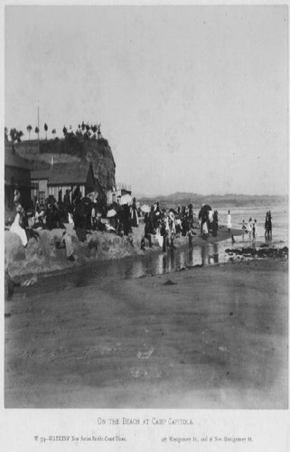 On the beach at Camp Capitola, 1885