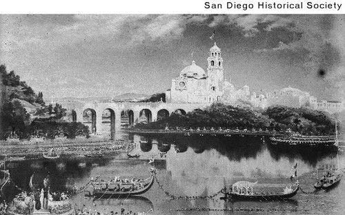 Artist's conception of the California Building and Tower in Balboa Park