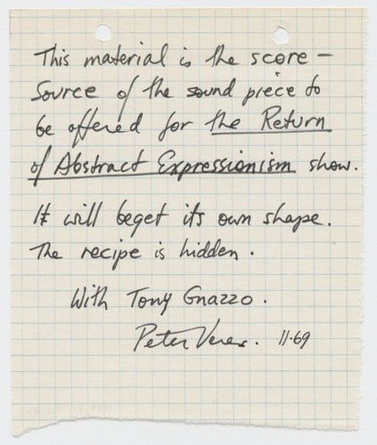 Letter to Tom Marioni from Tony Gnazzo and Peter Veres (The Return of Abstract Expressionism)