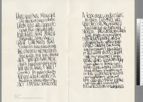 Letter to Morgan Thomas from James Lee Byars and B.B