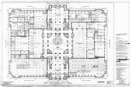 Calisphere main floor plan san francisco city hall drawing no 8 main floor plan san francisco city hall drawing no 8 malvernweather