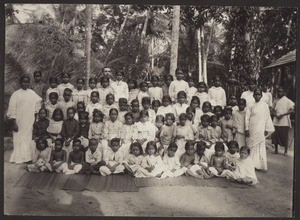 Girls school, with Rev. Renz in the background, Malabar, South India