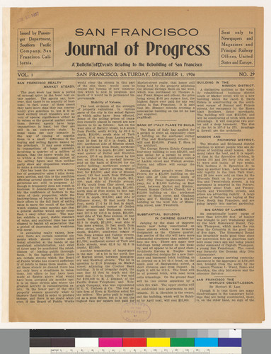 Journal of progress: A Bulletin of Events Relating to the Rebuilding of San Francisco: Vol. 1 No. 29
