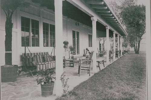 Porch of the main house at Will Rogers State Park, Rustic Canyon, Calif