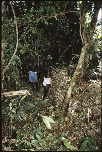 Men in forest. Possible shrine