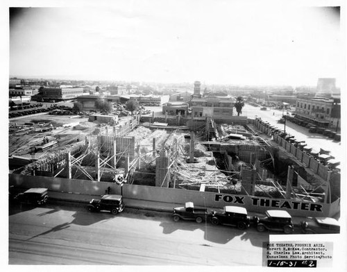 Calisphere: Fox Theatre, Phoenix, Constuction site [1], framing ...