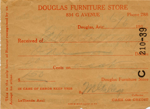 calisphere receipt from mose the furniture man of the douglas