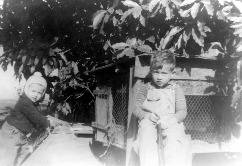 Don and Fred Burnette in backyard, East Walnut Avenue, Orange, California, 1943
