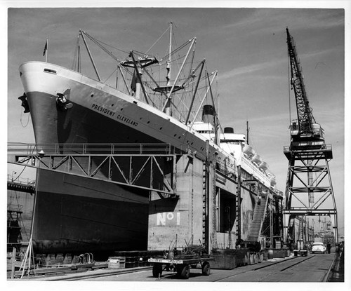 """P.C. 3/4, crane, etc. in Dry Dock 8/1/52 AHP"""