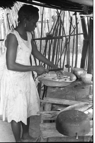 Woman cleaning fish, San Basilio de Palenque, 1975
