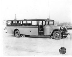 Analy Union High School bus at Scotts Avenue and Commerce Street in Stockton, California, about 1925