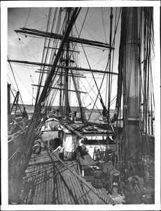 Deck of sailing ship at Port Los Angeles, ca.1905