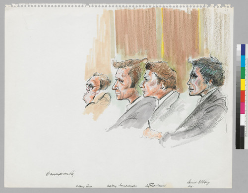 [recto]: Anthony Russo, Defense Attorney Leonard Weinglass, Defense Attorney Charles Nesson, Daniel Ellsberg, Defendant