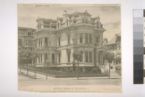 Residence of Mr. James B. Stetson, N. W. Cor. of Van Ness Avenue and Clay St., S. F. Artotype No. 16, with S. F. News Letter, July 2d, 1887