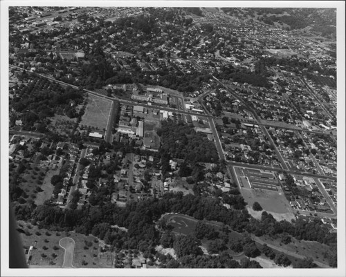 Aerial view of eastern Santa Rosa, California with Memorial Hospital in center, 1955