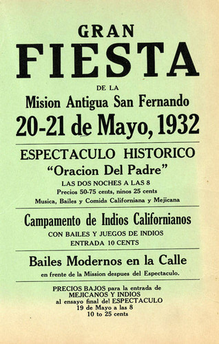 Gran Fiesta at the San Fernando Rey de Espana Mission, May 20-21, 1932