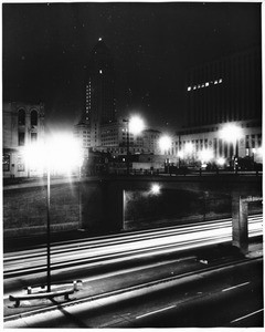City Hall at night showing the streaks from autos, 1958