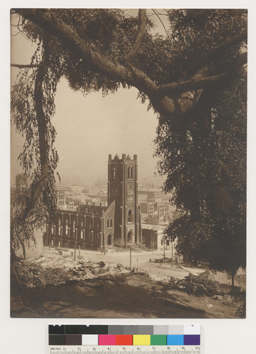 [View of gutted Old Saint Mary's church on California St. at Dupont (Grant).]
