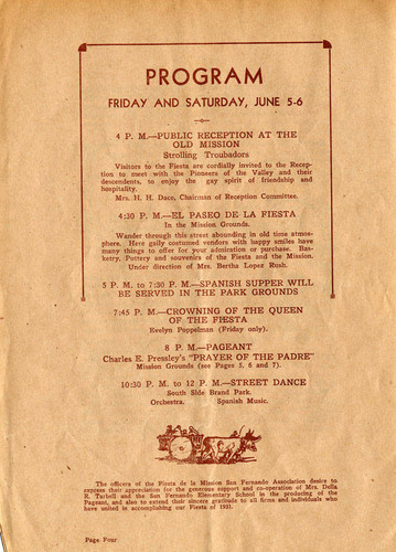 Official program for the Fiesta de le Mission San Fernando, 1931