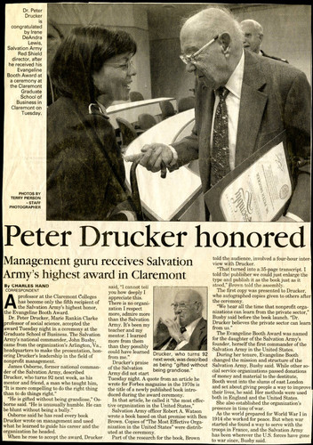 Peter F. Drucker article on Salvation Army recognition