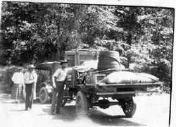 Riddell family's road trip on Skaggs Road--probably to Stewarts Point on the northern California coast, about 1920