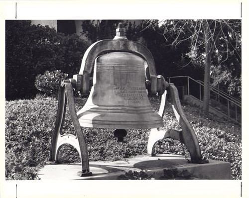 South Pasadena's First Church Bell (Methodist), Now on Church Grounds, Bilicke Hill