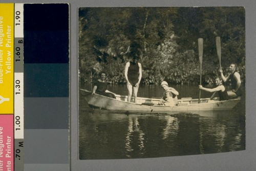 Our mother & Jane. Dad one of oarsmen. Lawrence May is 2d from right. Mrs. May in middle of boat with Elsie Jane