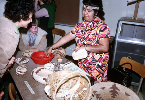 Bertha Jimenez Wright (right) at seminar at California State University, Chico--1974