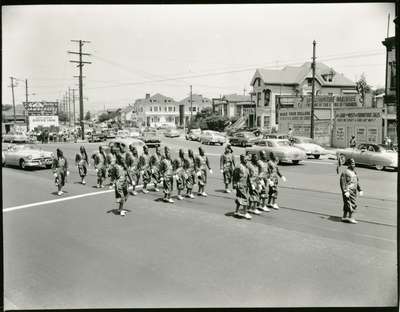 Masons marching in parade at 30th and San Pablo Avenue, Oakland, California