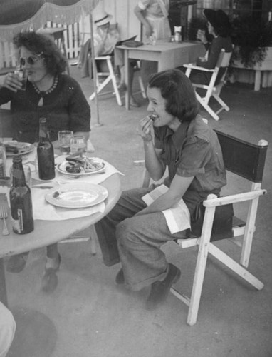 Ethel Schultheis at a cafe in Palm Springs