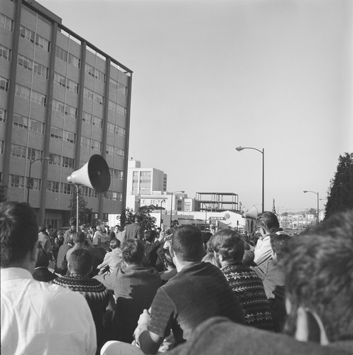 Demonstrators at Oxford and Addison during march to UC Regent's meeting
