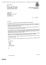 [Letter from Victoria Sandford to Peter Redshaw regarding request for cigarette analysis and customer information - CTIT Ref VS41]
