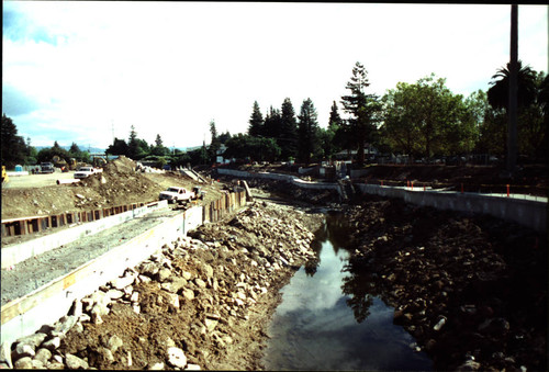 Looking east along Santa Rosa Creek bed from the Olive Street-Railroad Avenue Bridge