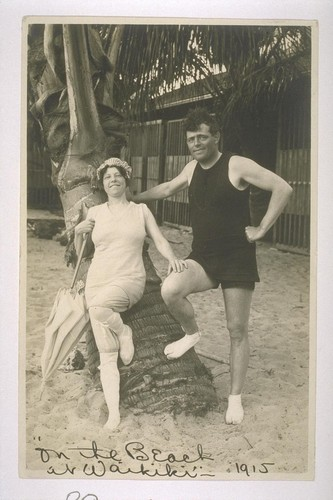 [Jack and Charmian London.] On the Beach at Waikiki