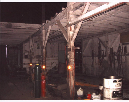 Interior view of the livery stable that stood at the corner of D and First Streets, Petaluma, California, Sept. 25, 2001