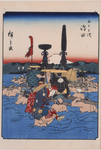 Fording the Oi River at Shimada, number 24 from the Fifty-three Stations (Jimbutsu Tokaido)