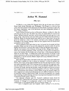 Announcement of Arthur Hummel's death (inc)