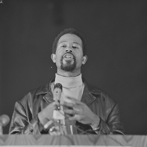 Eldridge Cleaver, Minister of Information of the Black Panther Party speaks at the Free Huey Rally, Marin City, CA, #110 from A Photographic Essay on The Black Panthers