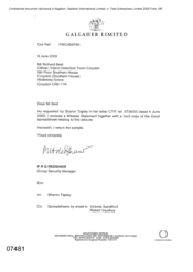 [Email from PRG Redshaw to Richard Best regarding a request by Sharon Tapley in her letter]