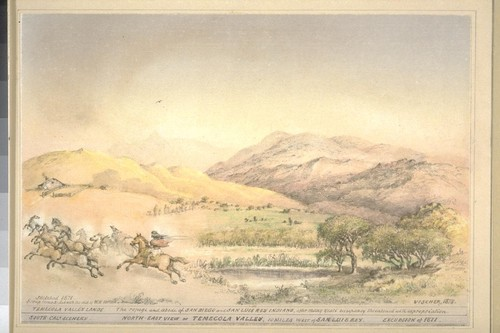 North-east view of Temecola Valley, 10 miles west of San Luis Rey. South-Cala. scenery. Excursion of 1871. Group remodelled with the aid of W.H. Hilton. Temecola Valley lands. The refuge and abode of San Diego and San Luis Rey Indians, after many years occupancy threatened with expropriation