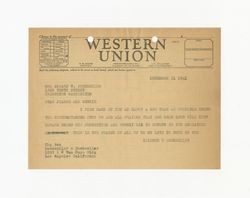 Telegram from Isidore B. Dockweiler to Jeanne Dockweiler, December 31, 1941