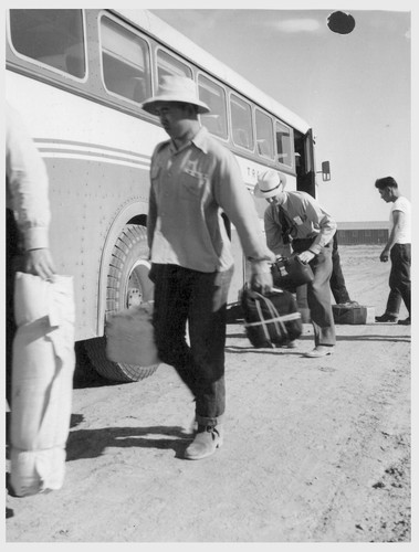 Site No. 1. Caucasian employees assist evacuees with the unloading of their baggage from the bus which has just arrived at the relocation center for evacuees of Japanese ancestry.--Photographer: Clark, Fred--Poston, Arizona. 5/10/42